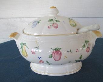 Vintage Lidded Porcelain Gravy Boat With Ladle Fruit Motif Serving Gravy Bowl  Gravy Tureen Sauce Bowl Dinnerware