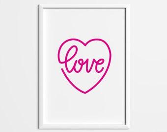 Pink Heart Print, Bedroom Art, Heart, Love, Art