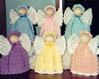 """CROCHET PATTERN Easy LARGE 9-1/2"""" Angels Home Decor Pastel Angels"""