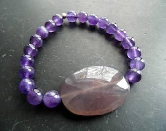 Bracelet, amethyst, lilac, men, unisex, amethyst, jewelry