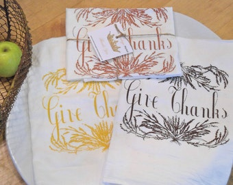 1  Flour Sack Towel - GIVE THANKS - Dish Towel