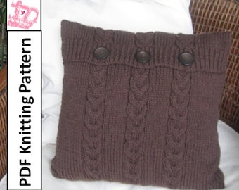 "PDF KNITTING PATTERN, cable knit pillow cover pattern, 16""x16"" pillow cover, Chocolate Buttons Triple Cable knit  pillow cover"