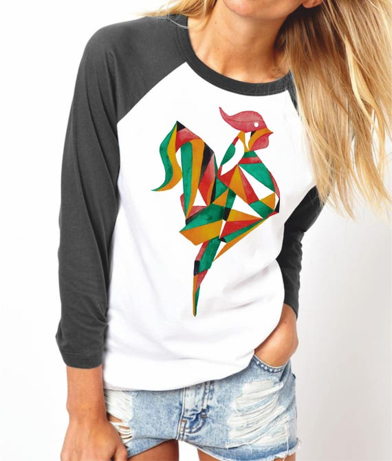 Origami Rooster | Unisex Raglan T-Shirt | 3/4 sleeves | Basketball shirt | Apparel for her / him | Watercolor | ZuskaArt