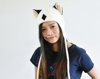 Inuyasha - KIRARA hat - Aviator Hat - Earflap Cat Hat - KIRARA Fleece Hat - Cat Ear Hat - Kirara Ears- Cosplay Kirara Hat - Anime Cosplay