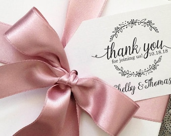 Thank You Stamp, Wedding, Gift Tag, Wedding Shower, Gift Bag, Wedding Favors Stamp, Flower Wreath Stamp, Clear Block Stamp --25165-CB14-000