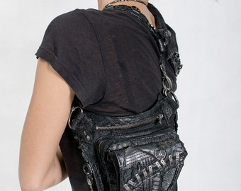 APOCALYPTIC DISTRESS Black Leather Convertible Hip Holster and Shoulder Bag