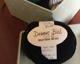 Debbie Bliss Merino Aran Black Wool Yarn Destash Yarn Washable Wool