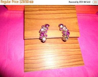 ON SALE Vintage Purple Rhinestone Earrings Designer Signed Karu Jewelry 50's 60's Collectibles Mad Men Mod Black Tie Formal