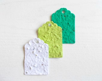 12 Eco Friendly Wildflower Seed Paper Gift Tags - Green Ombre Set - Recycled Paper and Wildflower Seeds