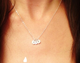 """SALE - Customized Sterling Silver Necklace - Hand Stamped 1/4"""" Initial - Personalized Charm - Sterling Silver Fine Cable Chain"""