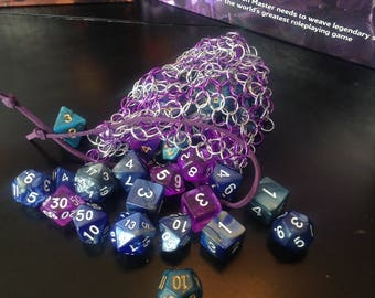 ChainMail Purple and Silver Dice Bag RPG Dice