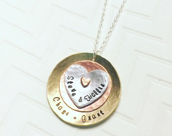 Name Necklace - Mother Necklace - Grandma Necklace - Family Necklace - Hand Stamped Necklace - Personalized Necklace - Christmas Gift
