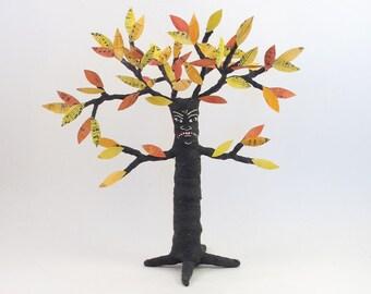 READY TO SHIP Spun Cotton Vintage Inspired Black Halloween Tree Man Figure