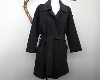 womens coat, wool coat, soft coat, oversized coat, belted coat, wool jacket, winter coat, grey coat, nordic coat, ascetic coat S/M