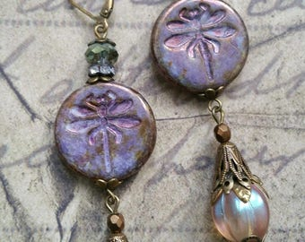 "Romantic glass earrings ""dragonflies"" bronze purple Czech"