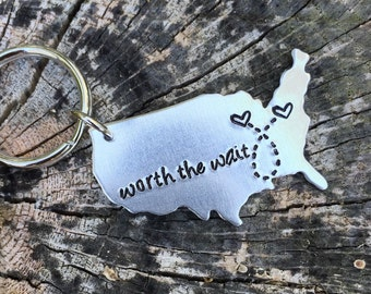 State Keychain USA Keychain Best Friends Long Distance Relationship Gift Personalized Message