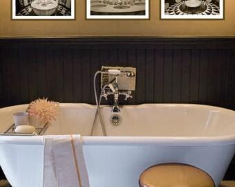 Sepia Paris Bathroom Set - set of 3 prints paris sepia 8x10 prints brown art deco bathroom wall decor 11x14 paris photography sepia wall art
