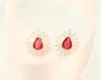 E046 Ruby Cubic Zirconia  With Crystal Glass Diamond Stud Earrings Post Earrings Pierced Earrings with 18-karat Gold Plated