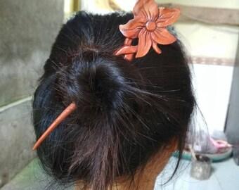 Flower Hair Stick Wood,  1 Prong, Hair Pins, Hair Fork, Hair Accessories,  Handmade,  Jewelry