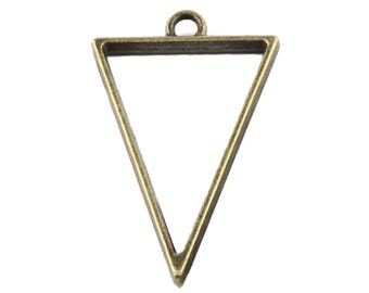 Hollow triangle 39x25mm ANTIQUE BRONZE metal pendant