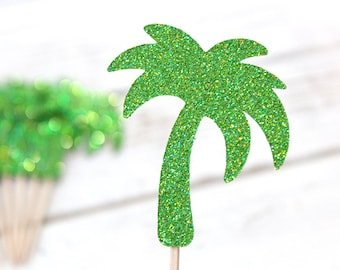 Palm Tree Cupcake Toppers - Set of 12 - Tropical Party