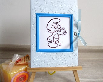 Smurf magic card, Color changing card, interactive kid birthday card, Children's birthday card, Funny handmade birthday card, slider card