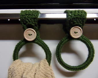 crocheted hanging towel holders set of 2, green kitchen towel ring, hand towel holder, crochet kitchen decor, RV towel holder, towel holders