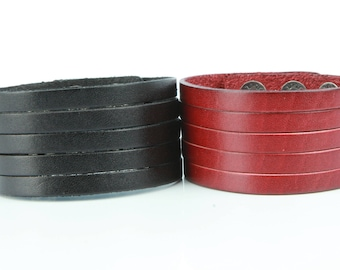 Sliced Genuine Leather Cuff, 3.5 cm wide with 5 strands (b069)