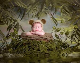 digital backdrop  background newborn baby girl or boy jungle forest