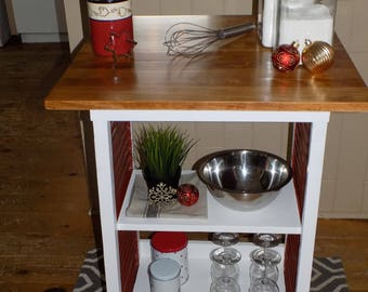 Kitchen island with recycled old shutters