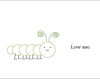 Love Bugs, Inchworm, Bee, Dragonfly Cards (Set of 12)