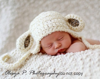 Newborn Sheep Earflap Hat, Baby Lamb hat, Baby sheep hat, Baby Easter outfit, Baby easter hat - Photo prop