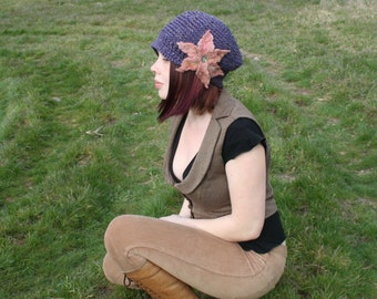 Wool Tweed Slouchy Newsboy Purple Brim Hat with Pink Felted Flower