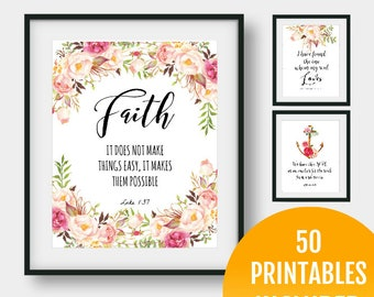 50 Prints - Bible Verse Printable Set, Verses Prints Set, Bible Verse Prints Set, Verses Printable, Verses Instant Download Set