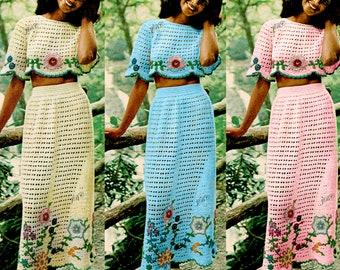 Midriff Top Crochet Pattern Skirt set maxi skirt 70s motif instant download PDF TS101