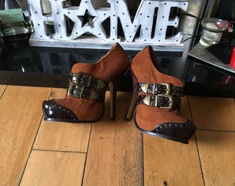 Vintage Leather and Suede Heels, Platform Shoes, Spike Heels, Shoe Boots, Stilettos