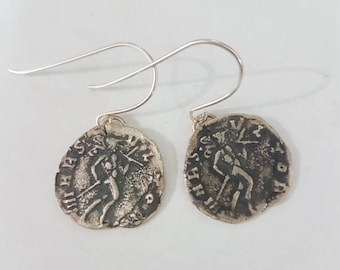 Silver coin earrings, sterling silver oxidized earrings, antique coin earrings, delicate earring, handmade earrings, 925 silver gift for her