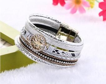Leather Wrap Bracelet, silver bracelet