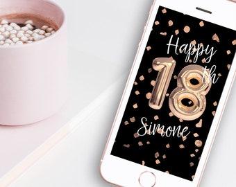18th Birthday Rose Gold Balloon Snapchat Geofilter - Black & Rose Gold