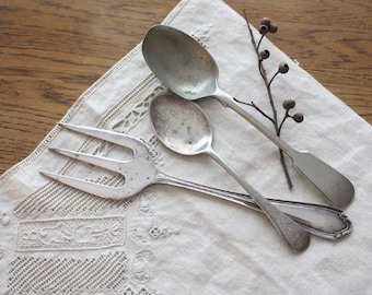 Vintage Rustic Silver Plate Cutlery ~ EPNS Serving Fork and Two Spoons ~ Food Photography Props ~ Tarnished Flatware Kitchenalia #18