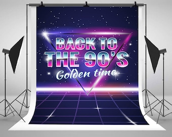 Retro 90's Disco and Dance Neon Photography Backdrops Personalized Customization Photo Backgrounds for Birthday Party Studio Props