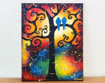 SALE Bird Painting Whimsical Lovebirds Tree of Life Art