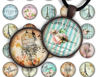 75% OFF SALE Digital Collage Sheet Grunge Romantic 1inch Round 25mm Circle Pendant Printable Download PC023 Instant Download Jewelry Making