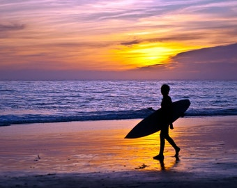 Surfer and Sunset (Art Prints available in multiple sizes)