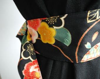 OBI - belt style - Japanese kimono pattern black background - reversible