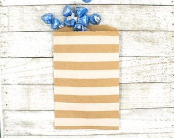 Kraft party favor bags, set of 20 brown kraft paper bags with white horizontal stripes, Candy buffet, goodie bags, bitty bags, wedding favor