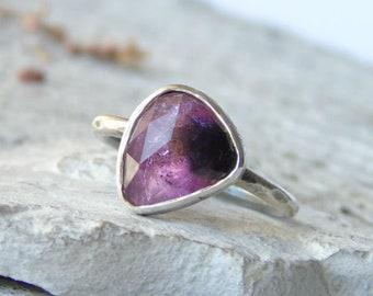 Pink Tourmaline ring, Rose Cut tourmaline ring, minimalist ring, sterling silver ring, Bi-Color watermelon tourmaline