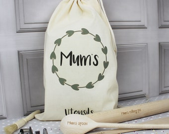 Personalised Baking Utensils With Bag - Baking Supplies - Personalised Gift For Mum - Baking Gift Set - Mother's Day Gift - Engraved Utensil