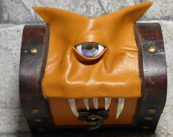 Dice Box Mimic Monster Dungeons And Dragons Magic The Gathering Desk Organizer Trinket Storage Stash Box Brown Leather  251