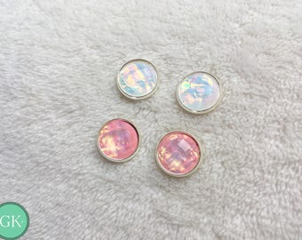Holographic foil pink or white stud earrings